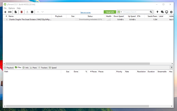 uTorrent Default View