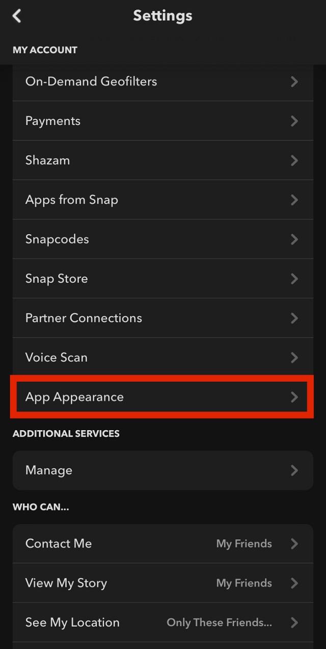 Snapchat Dark Mode