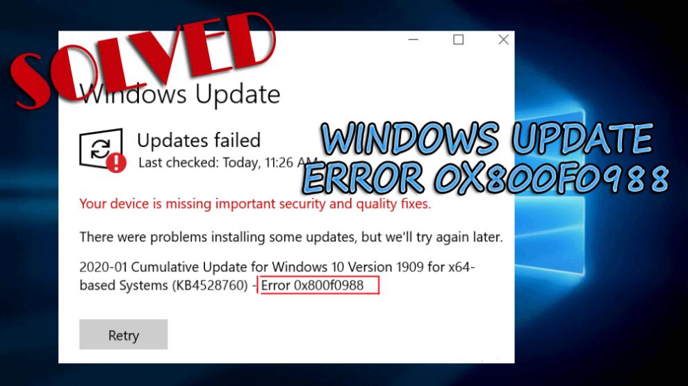 Error Code 0x800f0988